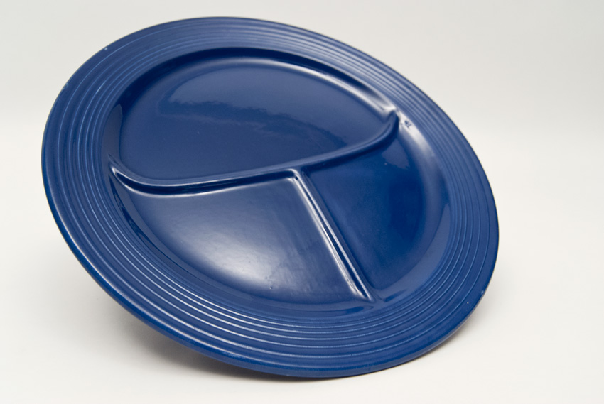 Vintage Fiesta Divided Plate in Cobalt Blue : sectioned dinner plates - pezcame.com