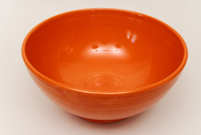 Vintage Fiestaware Large Footed Salad Bowl In Original Red