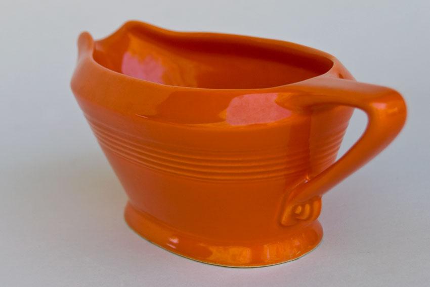 Vintage Harlequin Pottery Sauce Boat In Original Red Glaze