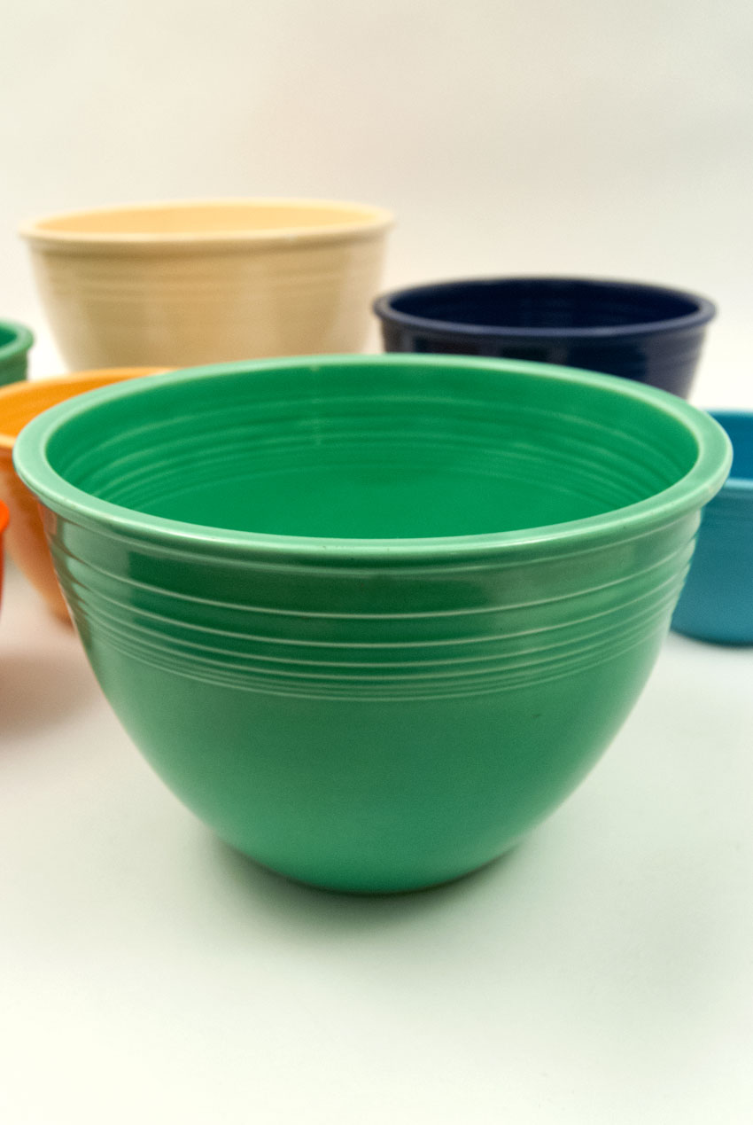 Vintage Fiesta Nesting Bowl #6 in Original Green Blue Glaze For Sale