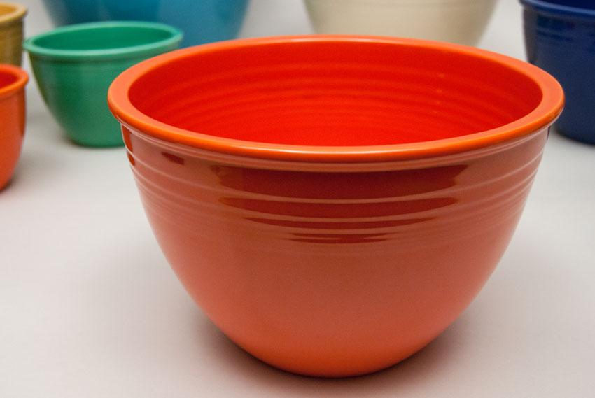 Vintage Fiesta Number 5 Red Nesting Bowl in Original Red Glaze For Sale