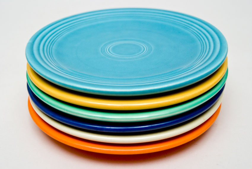 Vintage Fiesta 6  Bread and Butter Plates Complete Set of 6 in Original Colors & Vintage Fiesta 6