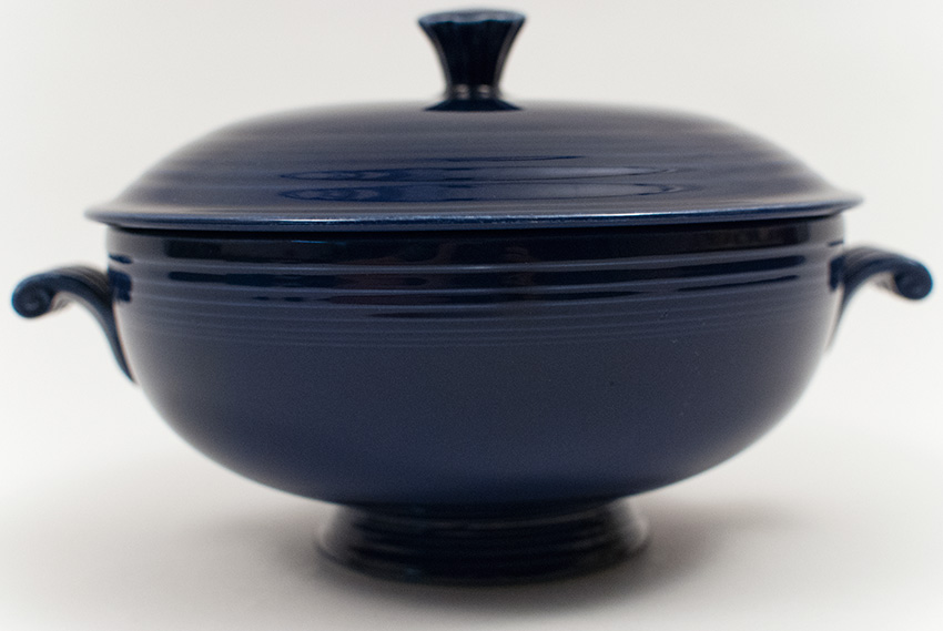 Vintage Fiestaware Covered Casserole In Original Cobalt