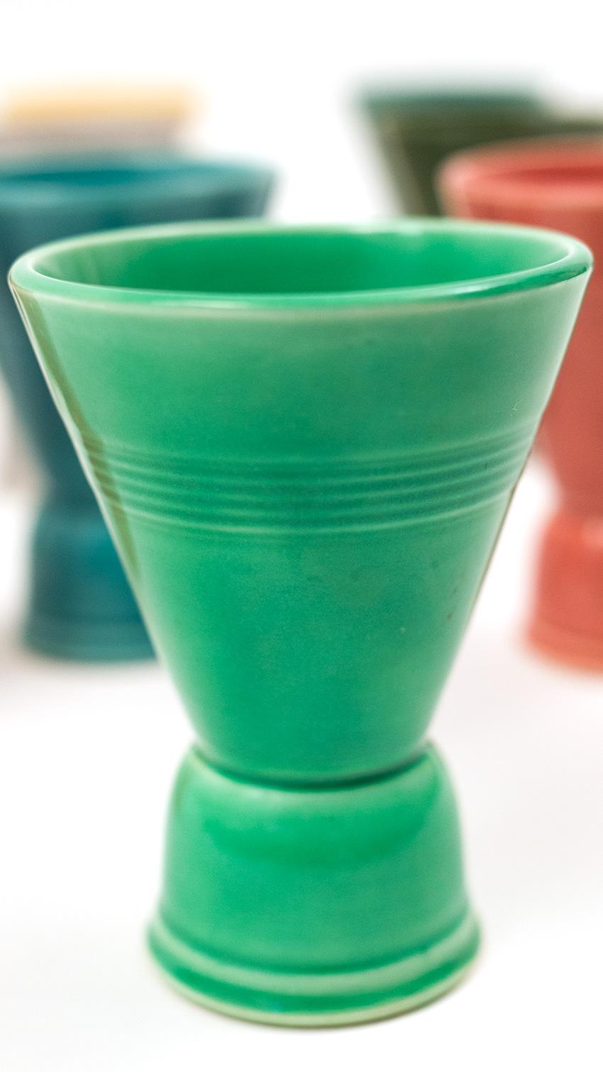 Vintage Harlequin Pottery Double Egg Cup In Original Light