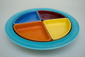 Harlequin Pottery For Sale: Relish Tray: Turquoise Red Maroon Mauve Yellow