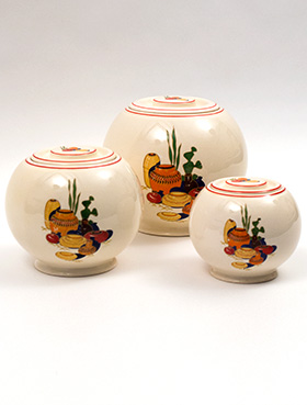 Set of Three Mexicana Kitchen Kraft Covered Ball Jars with Red Stripes