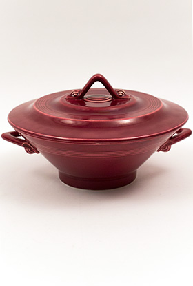 Harlequin Pottery Maroon Covered Casserole