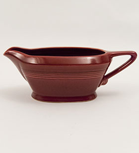 Vintage Maroon Harlequin Pottery Sauce Boat