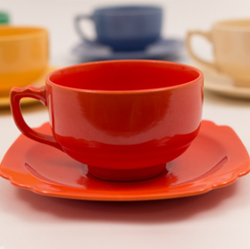 Vintage Riviera Pottery Teacup and Saucer Set in Original Radioactive Red Glaze