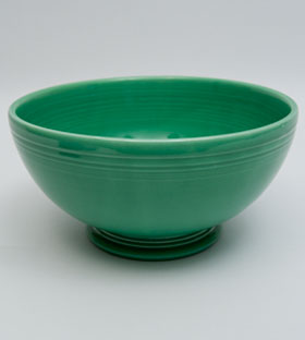 Original Green Vintage Fiestaware Large Footed Salad Bowl For Sale