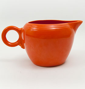 Red Fiesta Fiestaware Radioactive Red 2 Pint Jug Vintage Homer Laughlin American Solid Color Ringware Pottery