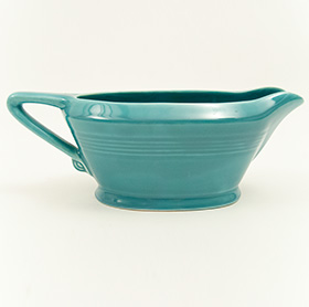 Vintage Turquoise Harlequin Pottery Sauce Boat
