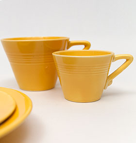 Harlequin Demitasse Cup Saucer Set Original Yellow Glaze