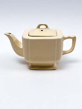 Vintage Homer Laughlin Riviera Pottery Teapot in Old Ivory Glaze
