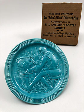 Worlds Fair New York 1939 American Potter Exhibit Artist at the Wheel Embossed Plaque Homer Laughlin Vintage Fiesta Turquoise For Sale