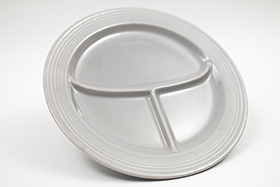 Vintage Fiesta Ten Inch Divided Plate in Original 50s Gray: Genuine, Old, Antique, For Sale, Gift
