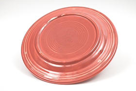 Vintage Fiesta Ten Inch Divided Plate in Original 50s Rose: Genuine, Old, Antique, For Sale, Gift