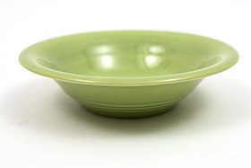 Vintage Harlequin Pottery 50s Chartreuse Fruit Bowl For Sale