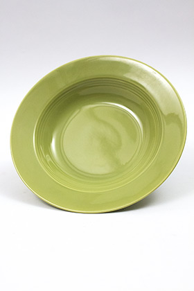 Vintage Harlequin Pottery '50s Chartreuse Deep Plate