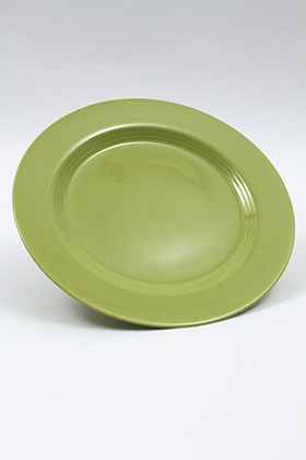 Vintage Harlequin Pottery 50s Chartreuse 10 inch Dinner Plate For Sale