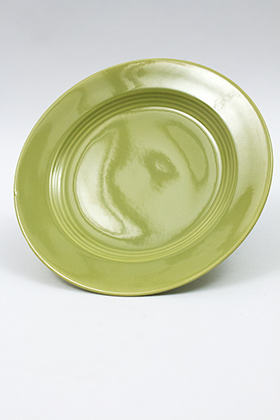 Vintage Harlequin Pottery 50s Chartreuse Lunch Plate For Sale