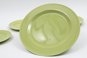 Vintage Harlequin Pottery 50s Chartreuse Salad Plate For Sale