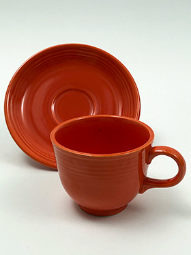 Vintage Fiesta Ironstone Teacup and Saucer Set in Mango Red Glaze 1969-1973