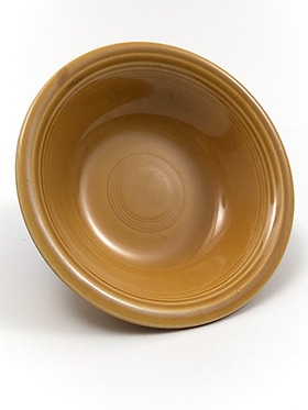 Vintage Fiesta Ironstone Dessert Bowl in Antique Gold Glaze for Sale Circa 1969-1973