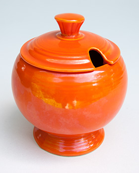 Vintage FIestaware: Original Radioactive Red Fiesta Pottery Marmalade For Sale