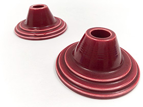 Harlequin Pottery Candleholders in Original Maroon Glaze