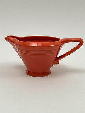 Vintage Homer Laughlin Woolworths Harlequin Creamer in Radioactive Red Glaze