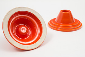 Rare Harlequin Pottery Red Candle Holders For Sale Antique Homer Laughlin Art Deco Fiestaware