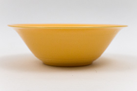 Vintage Harlequin Pottery 9 Inch Nappy Bowl in Original Yellow Glaze