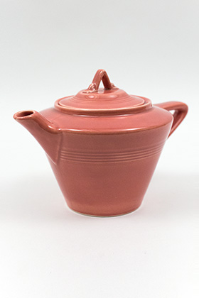 Harlequin Teapot in Original Rose Glaze Vintage Homer Laughlin Pottery For Sale