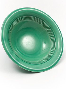 Vintage Harlequin Pottery 9 Inch Nappy Bowl in Original Green Glaze