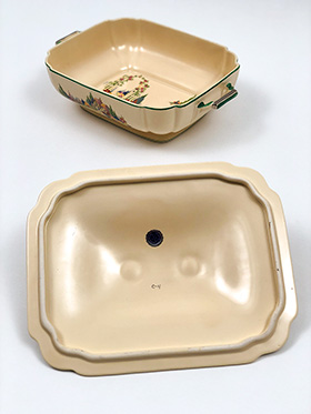 Homer Laughlin Wells Covered Casserole in Original Ivory Glaze with Green and Silver Stripes and English Garden Decal Scenes