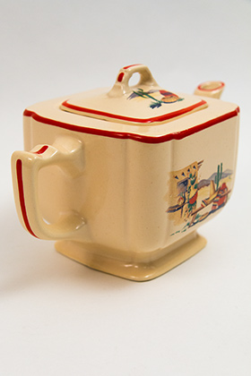 Vintage Homer Laughlin Century Teapot with Red Stripes and Hacienda Mexican Southwest Decalware 30s 40s Tableware