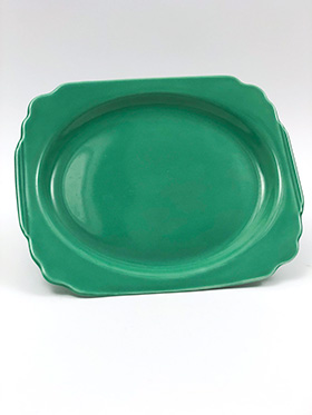 Original Green RIviera Pottery Oval Well Platter with Tab Handles