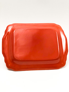 Radioactive Red RIviera Pottery Rectangular Batter Tray with Tab Handles
