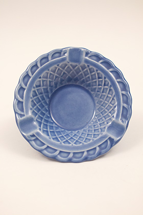 Harlequin Pottery Basketweave Ashtray in Original Mauve Blue Glaze