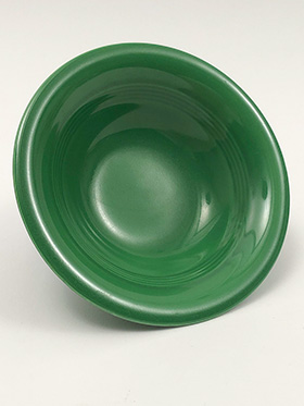 Vintage Harlequin Pottery 9 Inch Nappy Bowl in Original Medium Green Glaze