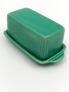 Vintage Riviera Pottery Original Fiesta Fiestaware Homer Laughlin Green Butter Dish For Sale