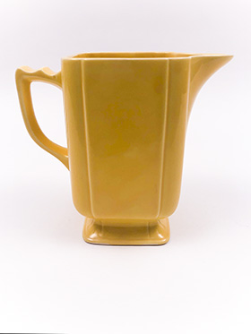 Vintage Homer Laughlin Riviera Pottery Large Batter Pitcher in Harlequin Yellow Glaze