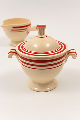 Rare Vintage Fiesta Red Stripe Sugar and Creamer Set for Sale 1936 Trial Versions Marked F100 Early Experimental Homer Laughlin Pottery