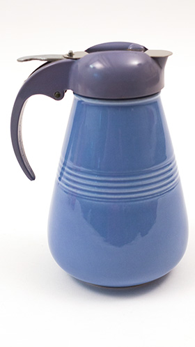 Vintage Harlequin Pottery Syrup Pitcher in Mauve Blue