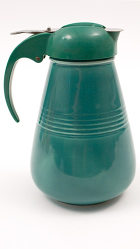 Vintage Harlequin Pottery Syrup Pitcher in Spruce Green