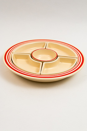 Vintage Fiesta Red Striped Relish Tray: All Six Original Colors on Turquoise Base