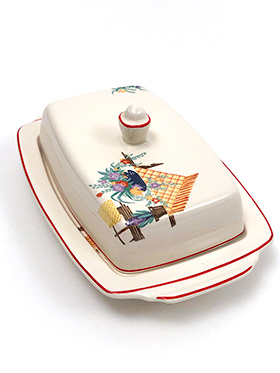 Homer Laughlin Half Pound Lidded Butter Dish with Red Stripes and Decalware