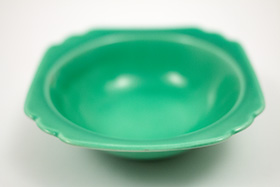 Vintage Riviera Pottery Harlequin Green Oatmeal Bowl