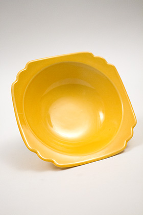 Vintage Riviera Pottery Harlequin Yellow Oatmeal Bowl
